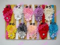 Wholesale shabby chic headbands resale online - Shabby Flower Headband Newborn Baby Girl Hair Bow Little Girls Hairbow Shabby chic headband