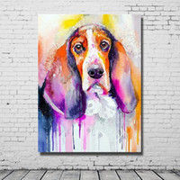 Wholesale Best Abstract Oil Paintings - Hand Made Modern Abstract Dog Painting Living Room Wall Decor Cheap Modern Animal Oil Painting Best Quality No Framed