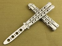 Wholesale Practice Balisong - Promotion Benchmade 42S Practice Balisong Knives Hunting Tactical 5Cr13Mov 56HRC Survival Pocket Knife Hole Blade Trainer Training Gift Tool