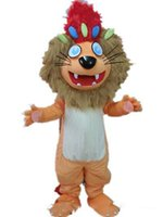 Cheap Good vision and good Ventilation an orange lion mascot costume with big mouth for sale