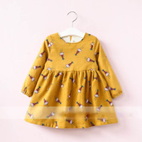 Wholesale Scarves Girls Baby Bow - Everweekend Girls Cartoon Print Ruffles Dress with Scarf Sweet Baby Yellow and Khaki Color Fleece Lining Autumn Winter Clothing