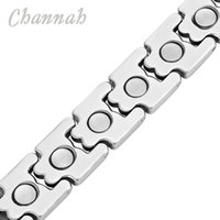 Wholesale Strong Magnetic Clasp Silver Plated - racelet performance Channah 2017 Men Strong Magnet Healing Magnetic Bracelet Stainless Steel Silver Bangle Silver Luxury Jewelry Wristban...