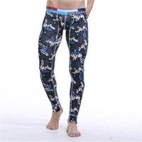 Wholesale Wholesale Men S Thermal Shirts - Wholesale-Cotton Printing Warm Men Long Johns Leggings Thermal Underwear Bottom Pants