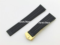 Wholesale Thin Watch Cm - 22mm New Top grade Thin Black Diving Silicone Rubber Watch Band Strap With Gold Deployment Clasp