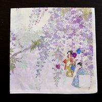 lenços de qualidade venda por atacado-Lenço de algodão de estilo japonês de tecido de qualidade impressa, padrão de flor de glicínias, lenço quadrado de bolso de bolso masculino S;