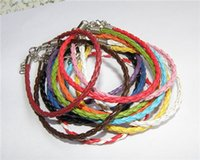 Wholesale rope anklets - Bracelet Women Braid Leather Bracelets Anklets Rope 8 inch With 2 Inch Ext Lobster Catch PU Candy Color Leather Braided Bracelet Leather