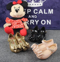Wholesale Cloth Heels Wholesale - Cute Baby Kids Beach Sandals Plastic Bow cloth Baby Children Footwear Candy Smell Mini Melissa Shoes DHL Shipping
