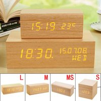 Wholesale Voice Sweets - Wholesale- Luminous USB Digital LED Wood Alarm Clock Voice Control Timer Thermometer With Time Memory Function Sweet Gift