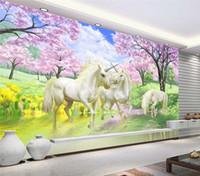 flor de cerejeira viva venda por atacado-Personalizado 3d papel de parede mural unicorn sonho cherry blossom tv fundo parede pictures para crianças quarto quarto sala de estar papel de parede