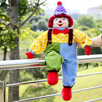 Wholesale Toy Cartoon Clowns - 37inch Happy Clown Plush Doll Stuffed Toys Cartoon Characters Festival Stage Performing Props Fun Game for Christmas