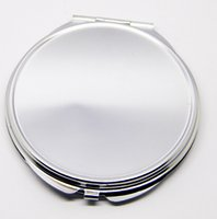 Wholesale Compact Mirror Silver Round - Free shipping 100pcs lot Blank Metal Compact Mirror Cases Round Metal Makeup Mirrors Silver Color