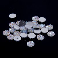 Wholesale Diy Flat Backs - 8mm Crystal AB Color Resin Flat Back Round Rhinestones Glue On Clear AB Beads 500pcs 1000pcs Scrapbooking Crafts DIY Jewelry