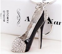Wholesale high heel shoe pendants - Women Crystal High Heeled Rhinestone Keychain Purse Pendant Cars Shoe Ring Holder Chains silver plated Key Rings For Women Gifts