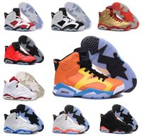 Wholesale Maroon Yellow - new 2016 man basketball shoes air retro 6 black cat Angry bull carmine infrared oreo maroon Metallic Gold sport sneaker us size 8-13