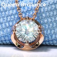 Queen Brilliance Solid 18K 750 Rose Gold 3 quilates F Color Lab Crecido Moissanite Diamond Colgante Collar para mujer Jewerly 17903
