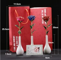 Wholesale Wedding Vases China - Plating 24k gold rose with Vases and high-end gift box set Gold rose of the lacquer that bake free shipping DT22