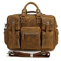 Atacado- 7028B Rare Crazy Horse Leather Homens Brown Business Briefcase Laptop Bag Dispatch Shoulder Enorme 16.5
