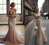 Wholesale Inbal Dror Evening - Amazing Detail Inbal Dror 2016 New Design Deep Champagne Lace Tulle Bridal Gown Sexy Backless Chapel Train Mermaid Evening Dresses