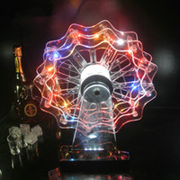 Wholesale Rack Wheels - Fashion rechargeable multicolor Plastic Ferris Wheel Glowing LED wine holder led shot glass wine rack for pub bar party barware