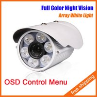Wholesale Outdoor White Cctv Camera - 6 Array White LED Day Night Outdoor Bullet Camera CCTV Camera Security Camera Night Vision With OSD Menu