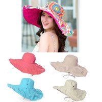 Wholesale Hiking Summer Beach Wide Brim Sun Visor Neck Protection Reversible Sunbonnet Hat Cap