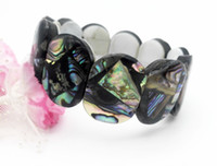 Wholesale Oblong Pearls - 2 PCS Fashion Beautful Jewelry New Zealand Blue Paua Abalone Oblong Bead Bracelet The best gift