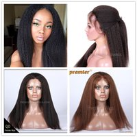 Wholesale Stock Lace Hand Tied Wigs - Premierlacewigs in Stock Kinky Straight Brazilian Virgin Remy Human Hair Lace Front Wig Average M size Brown ace Color lFor Black Ladies