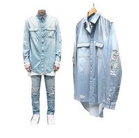 Wholesale Denim Shirt Mens - 2016 New Man Distressed Denim Shirts Mens Hip Hop Blue Cowboy shirt Long Sleeve Hiphop Streetwear Swag Tyga Top Tee Clohes