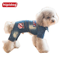 Wholesale British Style Jumpsuit - Hipidog 2017 New Design Dog Jeans Jumpsuit British Style Design Outfit Clothes Puppy Cat Autumn Spring Outwear for Small Dogs