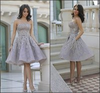 Wholesale Knee Length Juniors Cocktail Dresses - Shiny Glitz Sparkling Short Cocktail Dresses 2016 Strapless Knee Length Organza with Beads Top Junior Graduation Gowns Fashion Prom Gowns