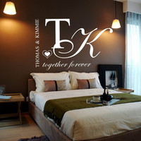 Wholesale Decal Love - Customer-made Personalised Couples Name Together forever Love Wall Art Decal Sticker Mural for Bedroom