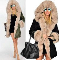 Wholesale Genuine Fox Fur Collar - Women's Winter Faux Fur Coat Natural Fox Fur Jacket Female Warm Genuine Coats With Big Fur Collar Hooded Long Overcoat