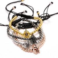 Wholesale Mens Rope Crystal Beads Bracelets - Anil Arjandas Brand Bracelet Mens Charm Bracelets Spartan Helmet Macrame Gold Plated Adjustable 4mm Brass Beads