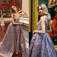 Wholesale Button Bouquets - 2017 Purple Plus Size Evening Gowns Sexy Illusion Lace Appliques Prom Dress Bouquets Tulle Detachable Train Formal Dresses