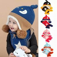 Wholesale Moon Scarf - Baby Caps 2Pcs Sets Star Moon Fleece Thick Hat+Scarf Boys Girls Knitted Cotton Sets Children Accessories 6-24 Monthes MZ4176