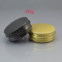 Wholesale Glasses 2oz - 60g black empty aluminum cosmetic containers 2oz aluminum jar with screw lid 60ml metal gold box aluminum gift containers