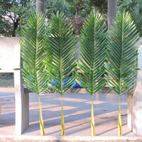 Wholesale Artificial Bamboo Plants - 18pcs Large 104cm Latex Artificial Bamboo Palm Plant Tree Leaf Branch in Wedding Easter Home Church Garden Furniture Decor Green F666