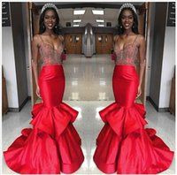 Wholesale Straples Dresses - Sexy Spaghetti Straples Satin Red mermaid Prom Dresses 2016 Pleated Ruffles Dubai Evening Gowns Custom Made