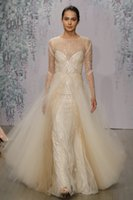 Wholesale Mermaid Wedding Dress Monique - 2016 Monique Lhuillier Overskirt Wedding Dresses Mermaid Sequined Sheer Jewel Neck Beaded Bridal Gowns Sweep Train Tulle Long Wedding Dress