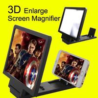 усилители оптовых-Портативный складной стенд усилитель экрана мобильного телефона 3D увеличенный держатель экрана лупы мобильного телефона с розничной упаковке DHL бесплатно OTH235