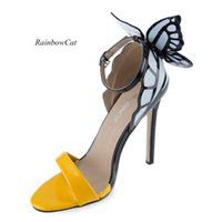 Wholesale Open Toe Color Block Shoes - Rainbow Cat Sexy Color Block Butterfly Design Open Toe Ladies High Heel Sandals Dress Shoes Top Quanlity B