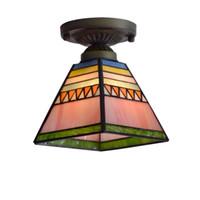 techo luz color vidrio al por mayor-Tiffany pirámide Corredor Techo Colgante Luz Lámpara de Techo de Cristal de Dormitorio de Color Balcón Pasillo Porche Luz de Techo