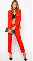 Wholesale Business Women Formal Suits - Custom Made Red 2 Piece Set Women Elegant Pants Suits Ladies Business Pant Suits Formal Office Suits