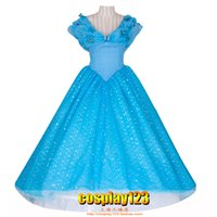 Wholesale Cinderella Costume Xxs - Free shipping 2015 New Design Cinderella Costume for Women adults kids Party Dress Cosplay Costume