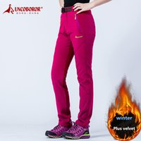 Wholesale Thick Waterproof Trousers - UNCO BOROR winter women Outdoor Sport thick warm fleece pants waterproof windproof Hiking Camping Skiing soft shell trousers