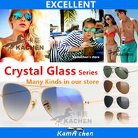 Wholesale G15 Lens - KaChen Gradient brown Blue 58 62mm uv400 G15 GLASS LENS gold Silver frame UV400 protection sunglasses glasses men women