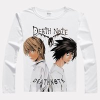 Wholesale Light Brown Shirt Men - Japan Movie DEATH NOTE L Print T-shirts Long Sleeve Casual Tops Yagami Light Unisex Spring Autumn Tees T Shirts