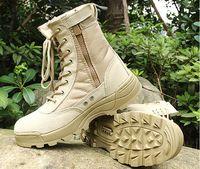 Wholesale Boots Tactical Khaki - 2016 Men SWAT Tactical Boots Military Desert Tactical Shoes Outdoor Combat Boots size 39-45