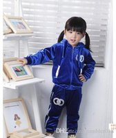 Wholesale Young Girls Clothing - 2016 children's clothes wholesale trade hot children winter suit children and baby velvet suit Infants and young children