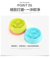 Wholesale Slow Dog Food Bowl - Free shipping New Beautiful Design Pet Dog Cat Food Slow Feeder Jungle Design Puppy Anti Slip Choke Proof Bowl Candy color mixed wholesale